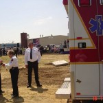 West Point Fire Department and Rescue Squad members provided EMS standby support as President George W. Bush visits the Bio-Diesel plant in New Kent County, Virginia.