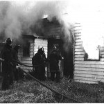 Firefighters attack a fire at a country store in King William County. One member can be seen wearing one of the first airpacks purchased by West Point VFR.